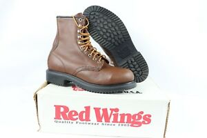 Vtg New Red Wing Shoes Mens 8D 2233 Supersole 8 Inch Leather Steel Toe Work Boot