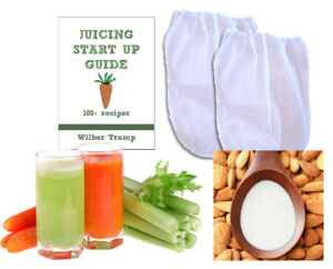 2 Fine Mesh Nut Milk Jelly Strainer Bags (1 gal) XL Extra Large + Juicing and