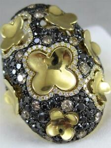 DESIGNER PAVE COGNAC BLACK DIAMOND 18K GOLD PUFF CLOVER COCKTAIL RING RG8919DCHB