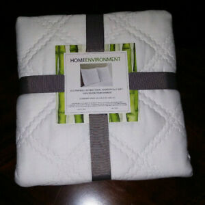 Home Environment White Quilted Pillow Sham~100% Rayon Bamboo~MSRP $104~NEW
