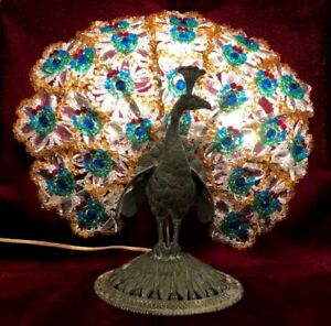 RARE!! Czech Bronze Peacock Base Beaded Tail Feathers Bodouir Lamp • GLORIOUS!