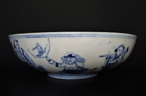 ANTIQUE Chinese QIANLONG Period Large BLUE & WHITE Immortal's BOWL