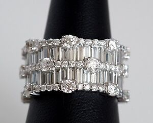 6.45 CTW Diamond Eternity Style Band 18K White Gold ABSOLUTELY DAZZLING wCert