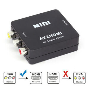 RCA to HDMI Converter Composite AV CVBS Video Adapter For Wii NES 1080P S4O8E