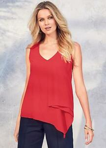 Bright Red,Asymmetric Layered Georgette Swing top Size 10 NEW