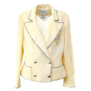 Authentic CHANEL CC Logos Long Sleeve Double Breasted Jacket Cream #40 G03374