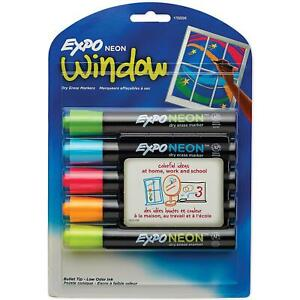 Expo Neon Dry Erase Markers Mix Bullet Tip Durable Elegant School Kids 5Ct Nice!