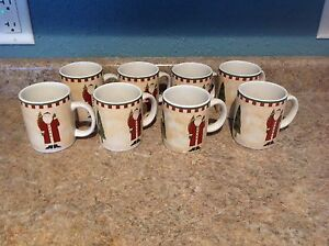 Debbie Mumm  Christmas FOLK ART SANTAS Zak Designs Set of 8 Mugs Coffee/Tea Cups