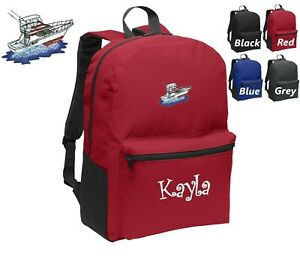 Personalized Kids Backpack Embroidered Sport Fishing Boat Monogrammed with Name