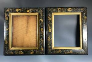 PAIR Victorian Ebonized Wood Picture Frames Faux Marbleized Painting and Incised