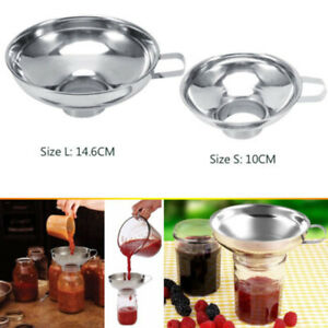 Stainless Steel Wide Mouth Canning Jar Funnel Cup Hopper Filter Kitchen Tool
