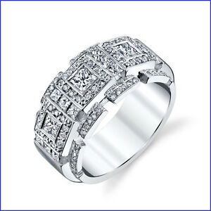 Incredible Large 2.35ct Men's Diamond PLATINUM Designer Band