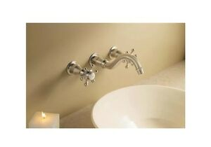 KOHLER LUXURY BRONZE K-T154 ANTIQUE Cross Wall-mount bathroom sink faucet trim