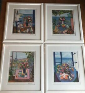 4 Josette Herard Marlin Lithographs Signed by Artist Limited Edition 250 Framed