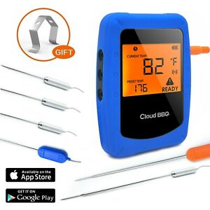 BossBee Bluetooth Meat Thermometer Wireless BBQ with 6 Stainless Steel Probes