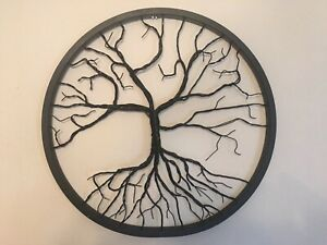 """Tree Of Life Sculpture 24"""" Recycled Bicycle Wheel Black Hand Made $249.99"""