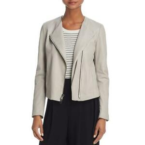 Vince Womens Beige Fall Bomber Cropped Leather Jacket Outerwear M BHFO 5360