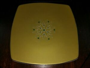Target Home Holiday Couture Fine China Small Square Gold Green Plate Star Burst