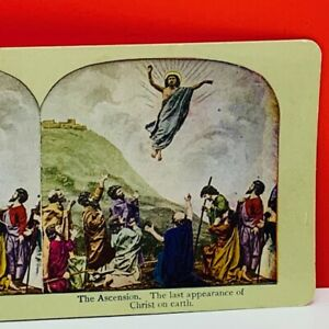 Stereoview ephemera photo picture sepia 1896 Jesus Christ ascension heaven earth