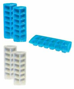 4 Pack White and Blue Stacking Ice Cube Trays BPA Free 6065
