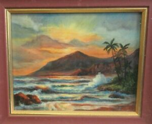 MARY HARTLEY quot;HAWAIIAN SUNSETquot; ORIGINAL OIL ON BOARD SEASCAPE PAINTING $225.00