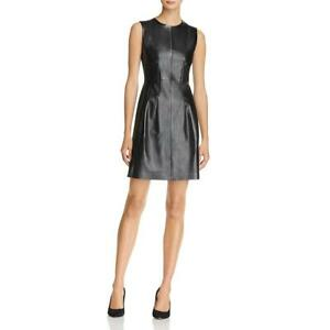 Theory Womens Black Sleeveless Leather Fit Flare Cocktail Dress 4 BHFO 5259