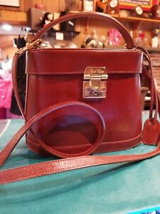 DESIGNER Mark Cross Benchley Leather CB Bag EUC CARMEL BROWN removable strap.