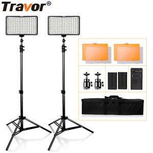 Travor 2PCS Dimmable LED Video Light Studio Lighting Kit with Stand USA STOCK