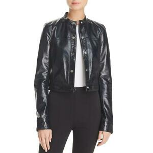 Theory Womens Black Lamb Leather Spring Bomber Jacket Outerwear L BHFO 9027