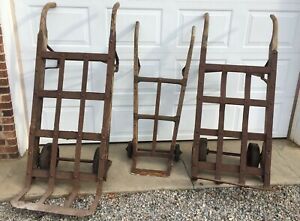 Lot Of 3 Antique Yard Art Vintage Industrial Wood Cast Iron Steel Dolly Truck $145.50