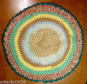 Old Table Mat Rug Old Creation Vintage Crochet Handmade Round Candle Pad 13quot; Rnd $14.55