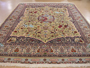 Persian Tabrizz Pictorial Hand Knotted Wool Silk Gold Oriental Rug 12 x 16