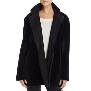 Theory Womens Clairene Black Reversible Shearling Fur Coat Outerwear M BHFO 5359