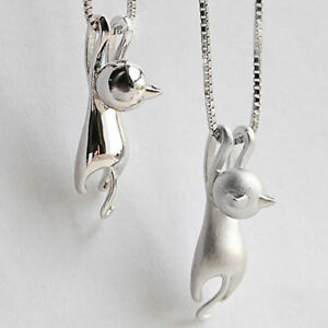 1PC Cute Women Silver Small Cat Pendant Necklace Jewelry Chain Xmas Charm Gift