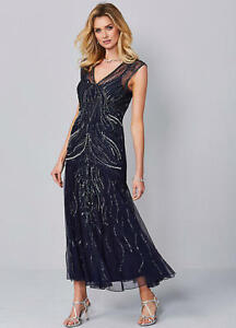 Stunning Ankle Skimming Beaded Evening Party, Special Ocassion Maxi Dress