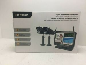 Defender Digital Wireless Security System with Night Vision Camera - Black
