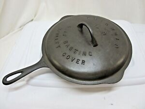 Vintage Griswold Cast Iron #8 Skillet 704 Y with Self Basting Lid 468B Great!!!