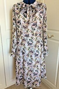 Lovely floral georgette fit & flare tie-neck dress & slip UK 16 by Kaleidoscope