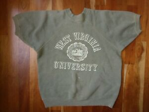 Vtg WVU West Virginia University Short Sleeve Sweatshirt Shirt Top Mountaineers