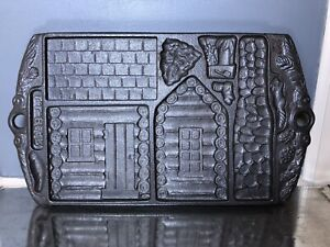 LL Bean 1993 John Wright Cast Iron Bears & Gingerbread House Cabin 2-Sided Mold