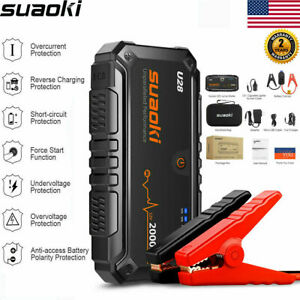 Suaoki 2000A 12V Car Jump Starter Booster Battery Charger Power Bank LED SOS USB