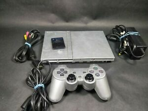 Sony PlayStation 2 SCPH-90001 Slim Satin Silver Console Complete Tested Working