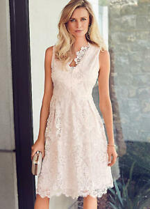 Blush Pink Fit and Flare Prom Style Lace and Sequin Summer Occasion Dress