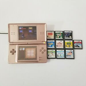 Nintendo DS Lite Rose Gold Handheld Console Charger Case 10 Games SHIPS FREE