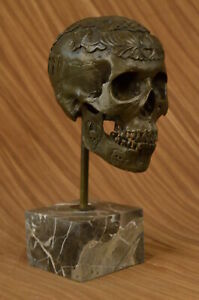 Signed: Milo Bronze Statue Skull Skeleton thinker sculpture Made by Lost Wax ART