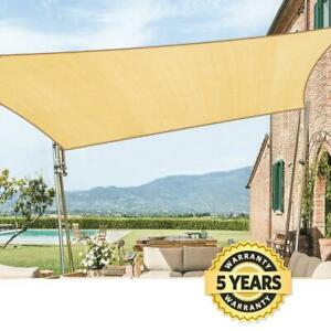 Quictent 185G Square 20'x20' Sun Shade Sail 98% UV Block Outdoor Patio Sand