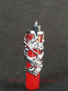 Collect China Tibet Silver Dragon Inlay Natural red Jade Carving Pendant Amulet