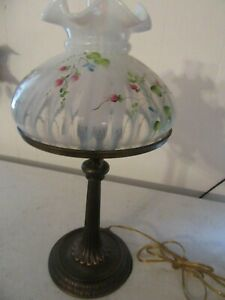 Fenton glass Lamp 10''Shade white with flowers EXCELLENT