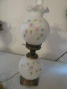 Fenton Glass Lamp 23''tall white wflowers EXCELLENT