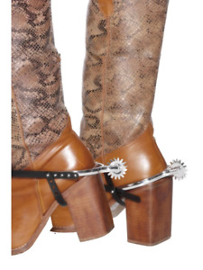 Silver Spurs Cowboy Western Adjustable Straps Fancy Dress Costume Accessory